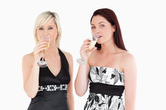 Beautiful women in dresses drinking champaign. Beautiful women in beautiful dresses drinking champaign in a studio Royalty Free Stock Photos