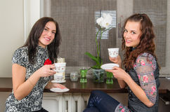 Beautiful women drink tea and chat homes Stock Photography