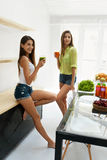 Beautiful Women Drinking Fresh Detox Juice For Healthy Nutrition Stock Image