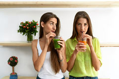 Beautiful Women Drinking Fresh Detox Juice For Healthy Nutrition Stock Photo
