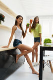 Beautiful Women Drinking Fresh Detox Juice For Healthy Nutrition stock images