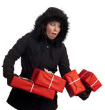 Beautiful women drops the gift boxes Royalty Free Stock Photo