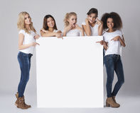 Beautiful women with empty board Stock Photos