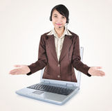 Beautiful women entrepreneurs out of a laptop with open arms Stock Photos