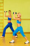 Beautiful women exercising. In fitness club royalty free stock photos