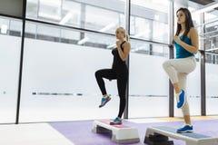 Beautiful women exercising aerobics Stock Photo