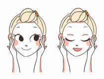 Beautiful women face hands.skin care.vector illustration Stock Photos