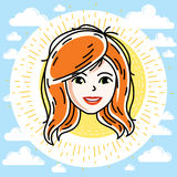 Beautiful women face, human head. Vector redhead character, attr Royalty Free Stock Photography