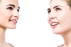 Beautiful women faces with clean skin Stock Photography