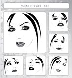 Beautiful women faces collection, vector Royalty Free Stock Image