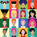 Beautiful women. Faces of women in different styles for business Royalty Free Stock Image