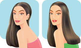 Beautiful women with facial hair styles. stock illustration