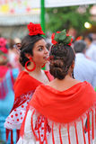 Beautiful women in the Fair, Seville, Andalusia, Spain Stock Photos