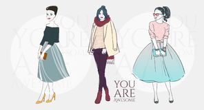 Beautiful women in a fashion retro clothes in glasses with bag. Vector hand drawn illustration. Beautiful young women in a fashion retro clothes in glasses with Stock Image