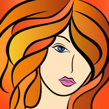 Beautiful women with fiery hair. Abstract beautiful women portrait with fiery hair, colorful hand drawing vector artwork Stock Photos