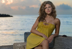 Beautiful women during florida sunrise Stock Image
