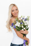 Beautiful women with flowers. Royalty Free Stock Photos