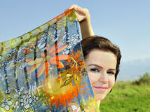 Beautiful women with flying white shawl Royalty Free Stock Image