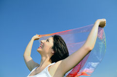 Beautiful women with flying white shawl Royalty Free Stock Photos
