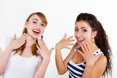 Beautiful women friends happy. Portrait beautiful women friends happy Royalty Free Stock Images