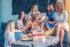 Beautiful Women Friends Having Fun At Bachelorette Party royalty free stock photography