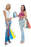 Beautiful women with gift Royalty Free Stock Photos