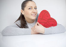 Beautiful Women with Gift - heart Royalty Free Stock Photo