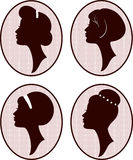 Beautiful women and girl silhouettes Royalty Free Stock Photography