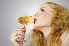 Beautiful  women with glass wine Stock Image