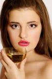 Beautiful  women with glass wine Stock Photo