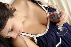 Beautiful women with glass wine Stock Photography