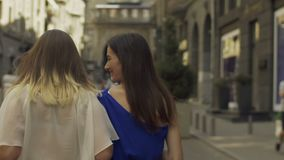 Beautiful women going for shopping together stock video footage