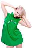 Beautiful women in a green dress Stock Images