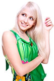 Beautiful women in a green dress Stock Photo