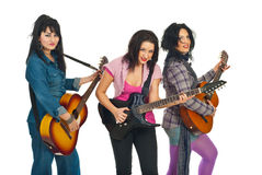 Beautiful women with guitars Royalty Free Stock Photography