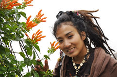 Beautiful Women Hair Flower Dreadlock Royalty Free Stock Photos