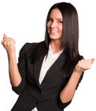 Beautiful women happily raised his hands up Royalty Free Stock Photos