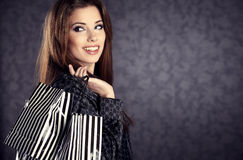 beautiful women with her shopping bags Royalty Free Stock Image