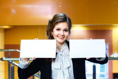 Beautiful women holding two blank white card Stock Images