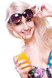 Beautiful Women In Swimsuit With A Glass Of Juice Stock Photo