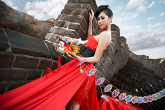Beautiful women with kate. Beautiful woman with kate in the great wall Royalty Free Stock Images