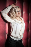 Beautiful women on leather background Royalty Free Stock Photos