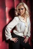 Beautiful women on leather background Stock Photography