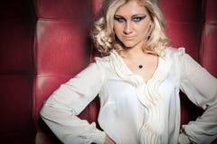 Beautiful women on leather background Royalty Free Stock Photo