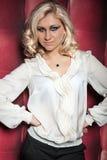 Beautiful women on leather background Royalty Free Stock Image
