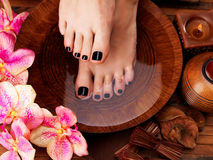 Beautiful women legs with black pedicure after Spa Royalty Free Stock Image