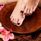 Beautiful women legs with black pedicure after Spa procedures. Spa treatment concept Stock Photos