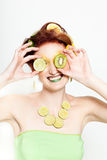Beautiful Women with Lime and Kiwi Royalty Free Stock Photos
