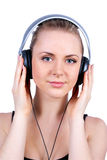 Beautiful women listening music Stock Photo