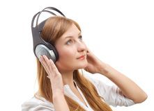 Beautiful women listening music. Royalty Free Stock Photos